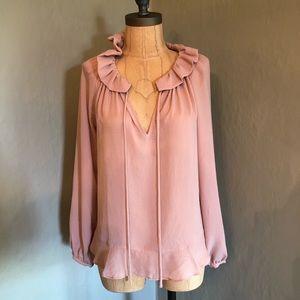 Ann Taylor Ruffle Blouse Blush XS